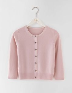Cashmere Crop Crew Cardigan WU049 Knitted Cardigans at Boden