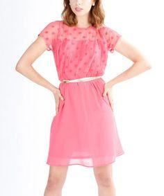 El Chic Pink Polka Dot Fit & Flare Dress by El Chic #zulily #zulilyfinds