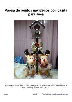 PAREJA DE RENITOS NAVIDEÑOS CON CASITA PARA AVES Diy Crafts, Christmas Ornaments, Holiday Decor, Disney Characters, Html, Home Decor, Craft Ideas, Cat, Reindeer