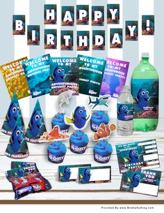 ARE YOU HOSTING A FINDING DORY PARTY? If the answer is yes, here is a set of free printable Finding Dory Birthday Party Decorations. #FindingDory