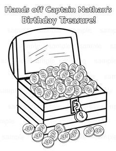 personalized printable pirate treasure chest birthday party favor childrens kids coloring page book activity pdf or - Open Treasure Chest Coloring Page