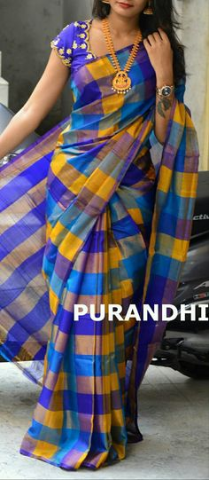 Blue checksnlinen cotton Saree Wearing Styles, Saree Styles, Trendy Sarees, Stylish Sarees, Kalamkari Dresses, Checks Saree, Pattu Saree Blouse Designs, Indian Bridal Outfits, Indian Silk Sarees