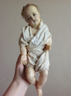 Lovely RARE Early Antique Poured Wax Baby Doll w Inserted Hair Creche Jesus   eBay