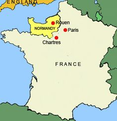 Map of France showing Normandy, the region given to Rollo by Charles the Simple. Tours France, France Map, France Travel, Normandy France, Germanic Tribes, William The Conqueror, Visit France, History Facts, Travel