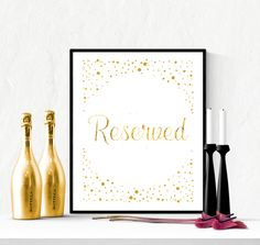 Reserved Wedding Sign Gold Confetti | https://www.vivabop.co.uk/products/reserved-wedding-sign-printable-gold-confetti