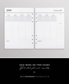 Plan a year of success with the dated weekly planner inserts for 2018. More than just a place to keep a diary, these minimal pages give you the space to plan goals and major to dos every month, in order to keep you productive and focused throughout the year. ════════════════