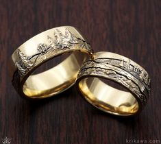Mountain Wedding Band Set in 14k yellow gold. We will hand-carve your favorite mountain range scene into your wedding ring! Completely customizable, choose your metal and your mountain range!