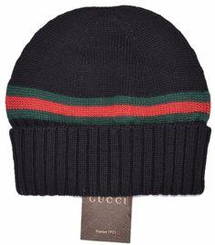 454273302cc New Gucci Men s 294731 Black 100% Wool Red Green Stripe Beanie Ski Hat S