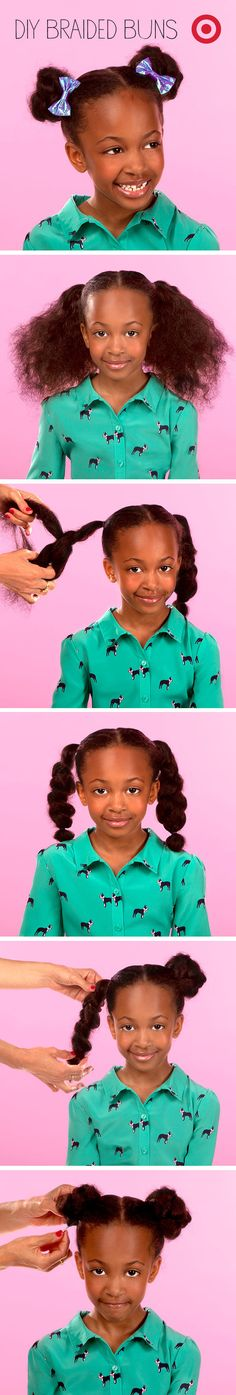 Try braided buns with bows for a girls' picture day hairstyle that's great for back to school. Go to www.naturalhairki... to see more tips, posts and pics like this! | natural hair | protective styles | detangling | natural hair kids | hair care tips | natural hair information | locs | natural hair inspiration | ponytails | braids | beads | caring for natural hair | natural hair tip | natural hairstyles for kids | children's hair | moisturizing hair