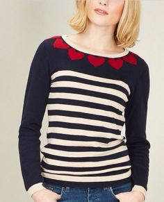 ef36aa5307 Navy  amp  Red Heart to Heart Sweater Cozy Sweaters