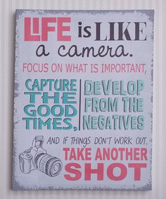 This Pink & Gray 'Life Is Like a Camera' Canvas is perfect! #zulilyfinds