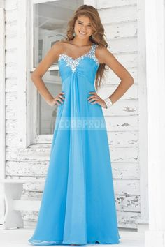 Ruched Chiffon Beaded One Shoulder A-line Prom Dress