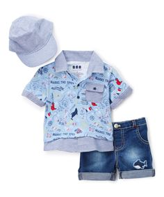 Look at this Miniville Blue & Chambray Boat Layered Polo Set - Infant on #zulily today!