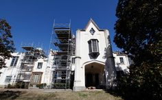 Scaffolding covers part of the repair work being done at Belmead on the James in Powhatan County, VA March 4, 2013. A group of nuns are working to preserve the history and heritage of the ante-bellum mansion.