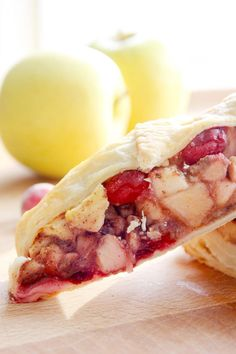 Cranberry Apple Strudel combines winter fruits with puff pastry to give you an amazing treat. Enjoy for breakfast or dessert!