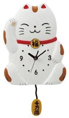 Maneki Neko Lucky Cat Pendulum Clock from Japan   eBay