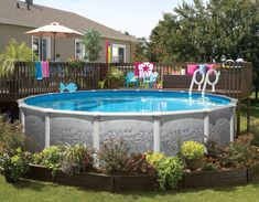Great landscaping for this above ground pool!