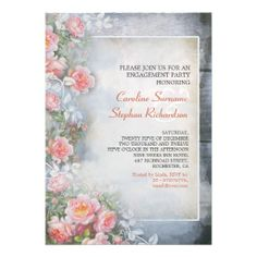 pink roses vintage engagement party invitations