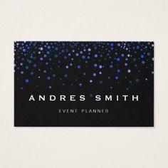 Blue Glitter Faux Foil Confetti Black Business Card - makeup artist gifts style stylish unique custom stylist