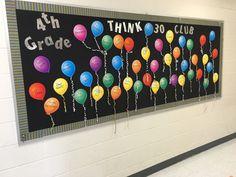 Cool THINK 30 Club hallway bulletin board Hallway Bulletin Boards, Classroom Door, Classroom Ideas, Think Through Math, Hallway Displays, Math Boards, Student Motivation, 4th Grade Math, Education