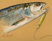 "ORIGINAL-Sea Trout - Salmo trutta trutta - fly fish fishing wildlife animal 8x5"" 21x15 cm art original Watercolor painting by Juan bosco"