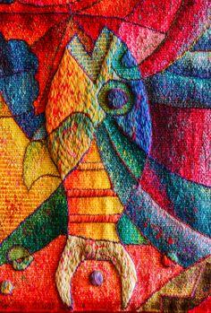 """""""Fiesta de la Diosa del agua"""". 120 x 470 cm. Detail. Hand Woven Tapestry…"""