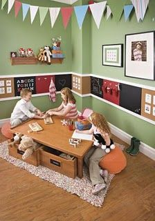 Love the chair rail! Kids Playroom Idea - Chair Rail made of Chalkboard, Cork Board & Magnetic Boards to draw, hang & display. Playroom Design, Playroom Ideas, Playroom Paint, Playroom Table, Kid Playroom, Playroom Furniture, Organized Playroom, Basement Ideas, Wall Design