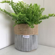 Etched Black And White Hessian Planter Bag