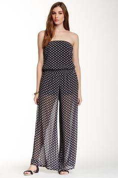 Strapless Woven Print Jumpsuit