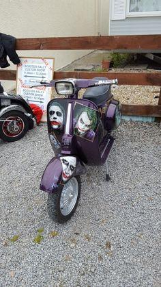"""The Joker"" Vespa motorscooter Vespa Lambretta, Vespa Scooters, Vespa Smallframe, Interactive Display, Sidecar, Zoom Zoom, Motorcycles, Wheels, Joker"