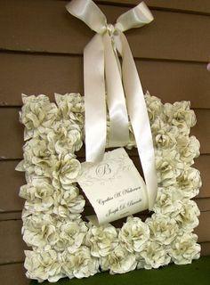 Square Book Page Wreath