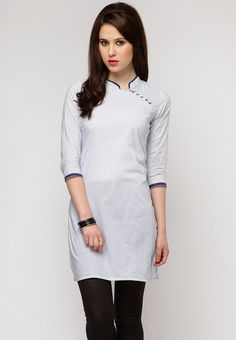On popular demand, this one is back in stock again. Look at this! What a cute collar! What a fine finishing! And that awesome trim on the collar and sleeve! No wonder this was a runaway hit! Rs. 499