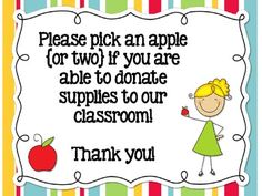 Classroom Donation Sign for Back to School Night - FREE
