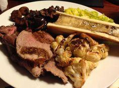 Paleo Roast Dinner - Beef with Mushroom & Onion Gravy, Roasted Cauliflower, Bone Marrow & Greens
