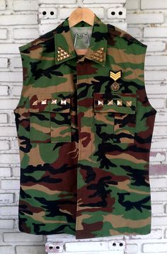 Vintage Vest Cut Off Camouflage Army Jacket With by KodChaPhorn
