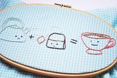 I like the sad tea bag.    1 plus 1 is one - Food Math Hand Embroidery Pattern. $4.00, via Etsy.