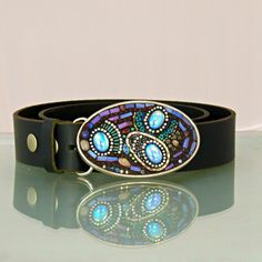Beaded Belt Buckle with swarovski crystals by DMacBeltBuckles