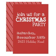Red Striped Holiday Invitation - invitations personalize custom special event invitation idea style party card cards