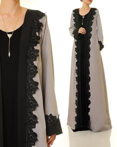 Kimono Cardigan   Grey Maxi Cardigan   Long Sleeve Cardigan Abaya   Long Duster Cardigan   Duster Jacket   Kimono Robe   Open Abaya 6388 by Tailored2Modesty on Etsy Abaya Fashion, Muslim Fashion, Modest Fashion, Girl Fashion, Womens Fashion, Cardigan Boho, Boho Outfits, Fashion Outfits, Muslim Dress