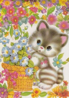 Welcome to my boards! Power Pinners and board raiders welcome here! Enjoy you time here and come back soon! Cute Clipart, Cat Cards, Jolie Photo, Vintage Cat, Vintage Greeting Cards, Cat Drawing, Illustrations, Cute Illustration, Animal Drawings