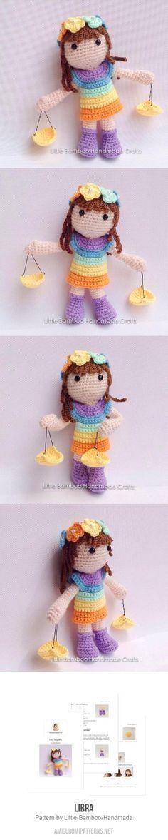Libra Amigurumi Pattern Diy Crochet Toys, Crochet Crafts, Crochet Baby, Crochet Projects, Knit Crochet, Knitted Dolls, Crochet Dolls, Amigurumi Doll, Amigurumi Patterns