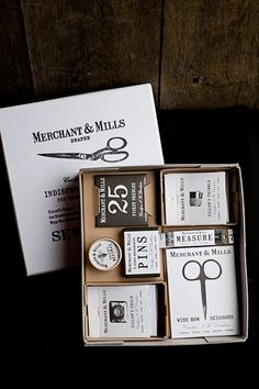 Merchant & Mills Selected Sewing Notions Box Set is a collection of their basic sewing supplies. It's an excellent beginner sewing kit.The Selected Sewing Notions Box Set includes: 25 Finest Needl… Merchant And Mills, Brand Packaging, Packaging Design, Branding Design, Packaging Ideas, Identity Branding, Visual Identity, Hotel Branding, Wine Packaging