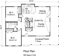 Country Style House Plan - 2 Beds 1 Baths 990 Sq/Ft Plan #22-123 Floor Plan - Main Floor Plan - Houseplans.com