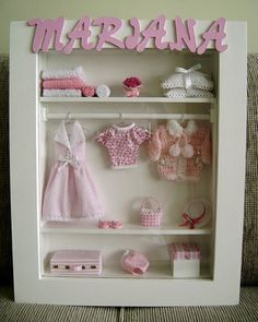 Dress up open closet Shadow Box Art, Shadow Box Frames, Boite Explosive, Clothespin Magnets, Baby Shower Souvenirs, Diy Barbie Furniture, Baby Applique, Vitrine Miniature, Picture Frame Decor