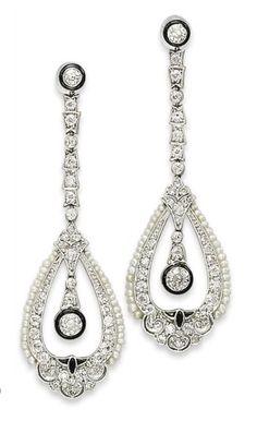 Art Deco Diamond Earrings 1920.