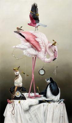 Kate Bergin (oil on canvas) Art And Illustration, Portrait Illustration, Art Illustrations, Fashion Illustrations, Flamingo Art, Pink Flamingos, Art Sculpture, Pop Surrealism, Surreal Art