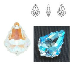 6090 Baroque 22mm Crystal Blue AB  Dimensions: 22,0 mm Colour: Crystal Blue AB 1 package = 1 piece 1 Piece, Baroque, Swarovski, Abs, Colour, Crystals, Blue, Color, Crunches