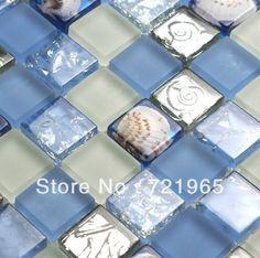 Blue glass mosaic wall tile kitchen backsplash resin shell mosaics RNMT055 stainless steel glass mosaic for bathroom floor tiles $232.49