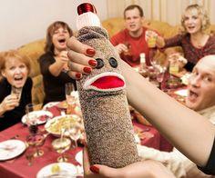 Wine Monkey Sock Bottle Caddy - #Wine #Christmas   CoolShitiBuy.com