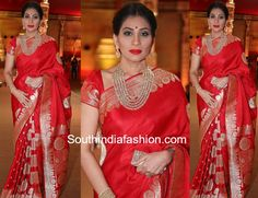 shreedevi chowdary red banarasi silk saree hasini wedding photo